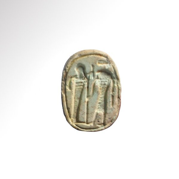 Egyptian Steatite Scarab with Ptah and Sekhmet