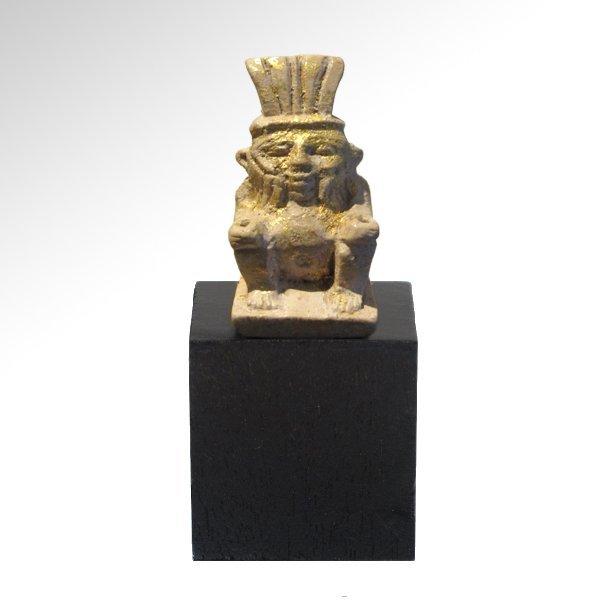 Egyptian Gilt Steatite Figure of Bes, c. 600 B.C.