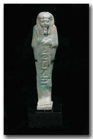 Egyptian Faience Inscribed Shabti,    Weser Tut