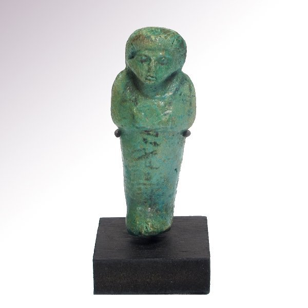 Egyptian Inscribed Turquoise Faience Shabti