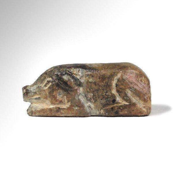 Near Eastern Steatite Wild Boar Amulet, 2000 BC