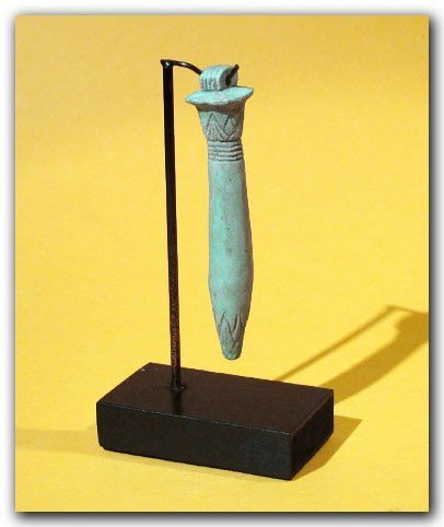 Egyptian Blue Faience Amulet of a Papyrus Sceptre