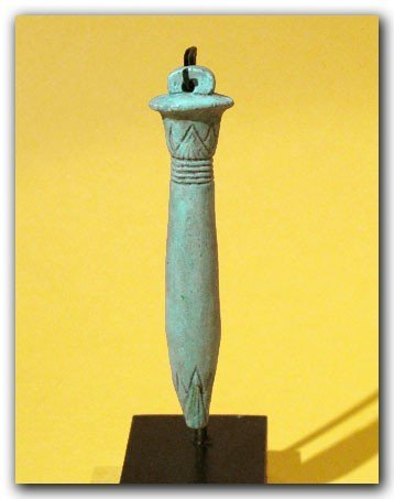 Egyptian Blue Faience Amulet of a Papyrus Sceptre - 2