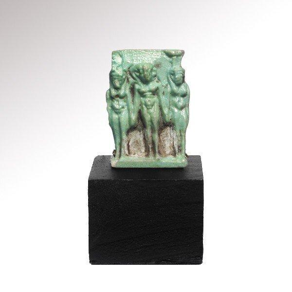 Turquoise Faience Triad Amulet , c.500 B.C.