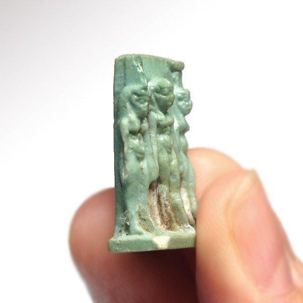 Turquoise Faience Triad Amulet , c.500 B.C. - 3