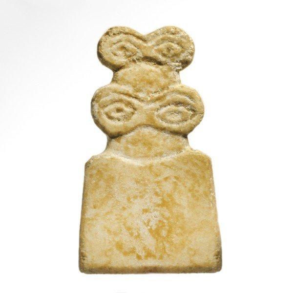 Marble Tell Brak Eye Idol with Child,4th Millennium BC
