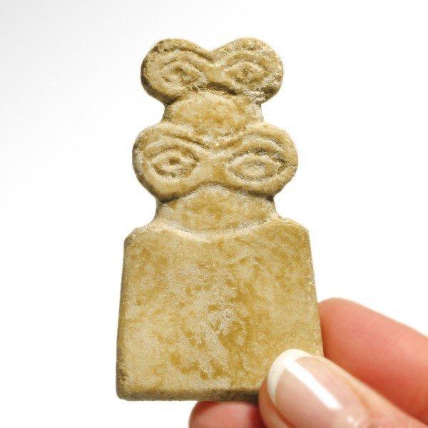 Marble Tell Brak Eye Idol with Child,4th Millennium BC - 2