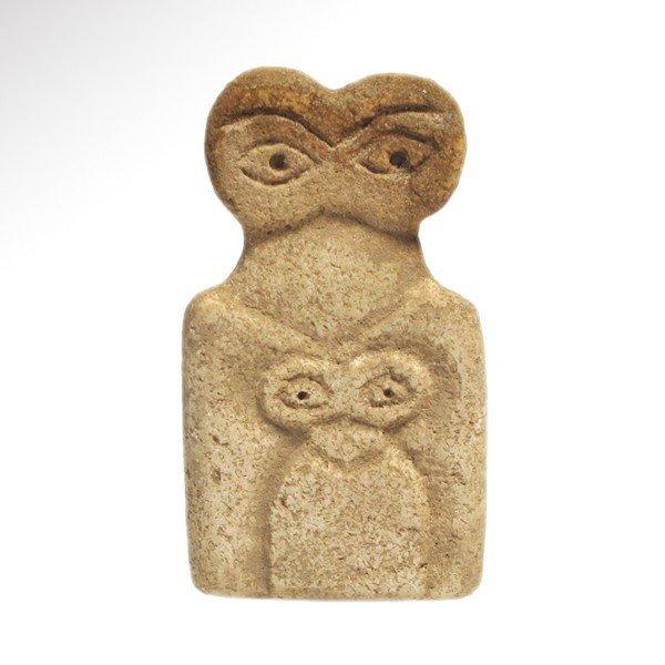 Marble Tell Brak Eye Idol with Child, 4th Mill. BC
