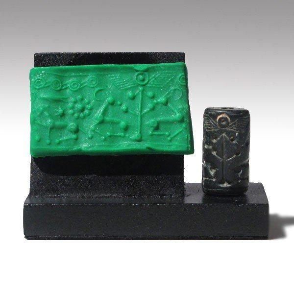 Mittani Hematite Cylinder Seal, Quadrupeds,1600-1300 BC