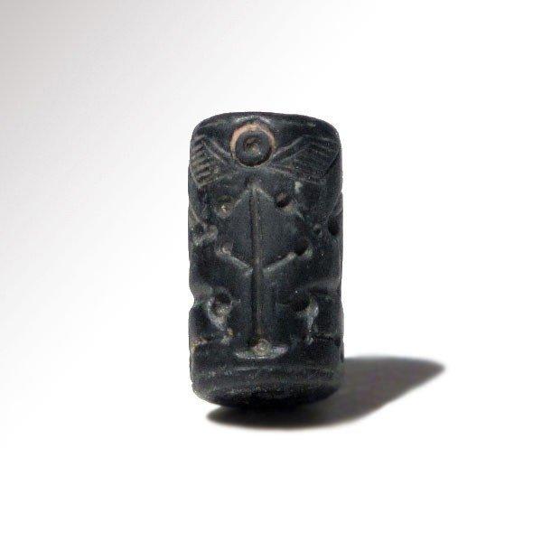 Mittani Hematite Cylinder Seal, Quadrupeds,1600-1300 BC - 2