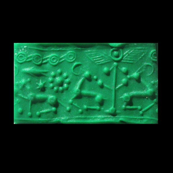 Mittani Hematite Cylinder Seal, Quadrupeds,1600-1300 BC - 6