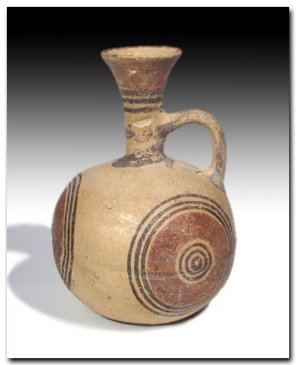 Cypriot Painted Terracotta Jug, Iron Age c. 900 B.C.
