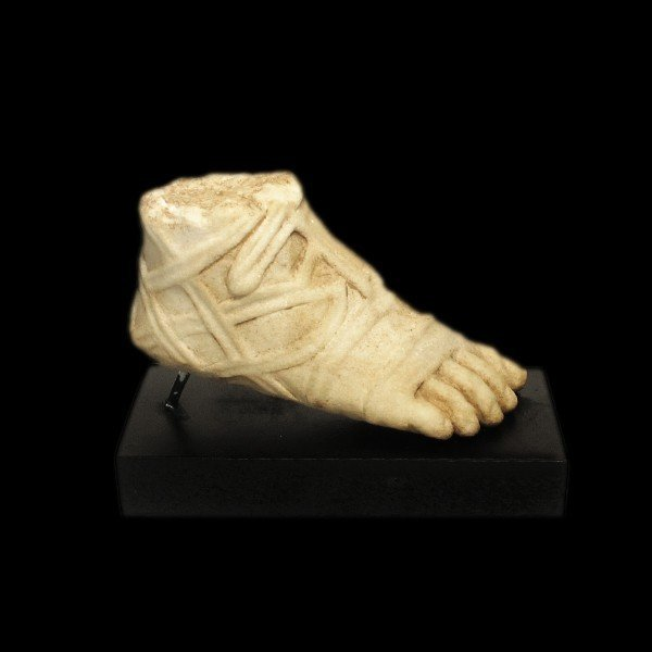 Roman Marble Foot with Sandal, c. 2nd-3rd Century A.D.