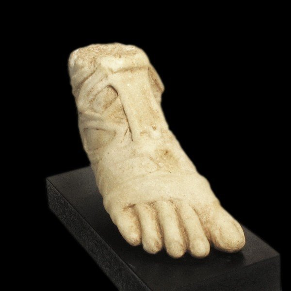 Roman Marble Foot with Sandal, c. 2nd-3rd Century A.D. - 3