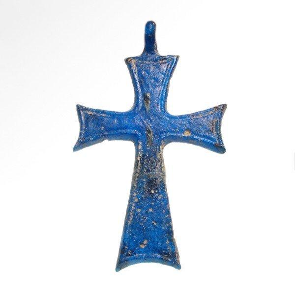 Rare Byzantine Blue Glass Cross, c. 8th-10th AD - 2