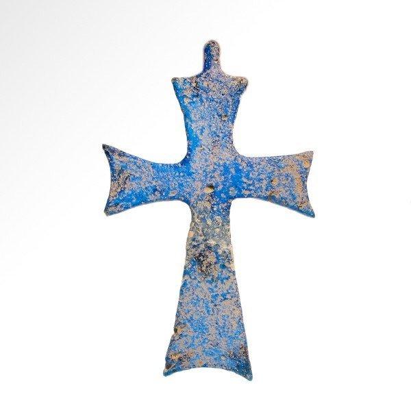 Rare Byzantine Blue Glass Cross, c. 8th-10th AD - 3