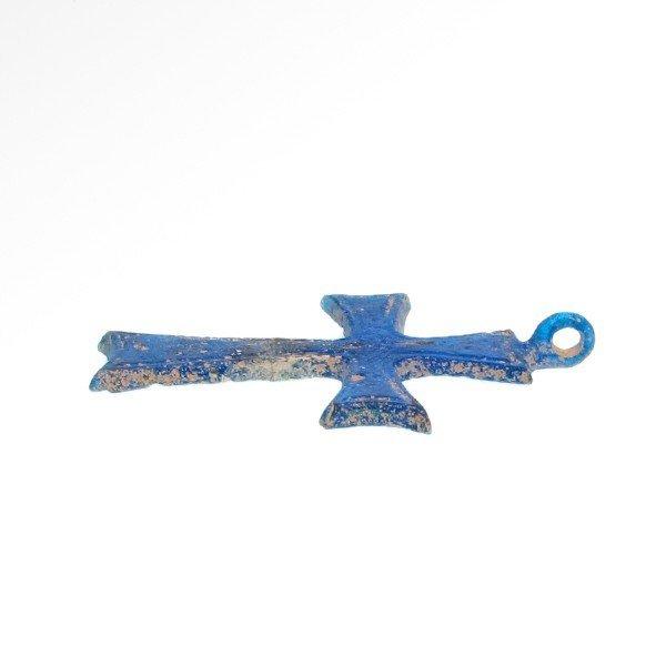 Rare Byzantine Blue Glass Cross, c. 8th-10th AD - 4