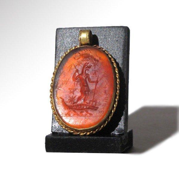 Large Gnostic Cornelian Intaglio set in Gold - 2