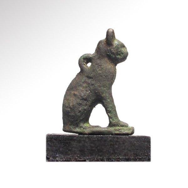 Egyptian Bronze Cat Amulet,  c. 300 B.C.