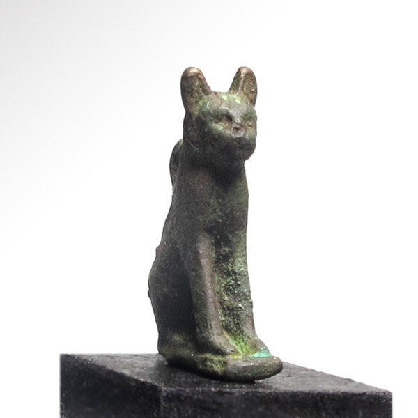 Egyptian Bronze Cat Amulet,  c. 300 B.C. - 5