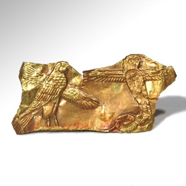 Egyptian Gold Sheet Plaque with the Falcon Horus and - 2