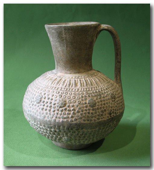 Unglazed Moulded Pottery Jug, Syria, c. 12th Century
