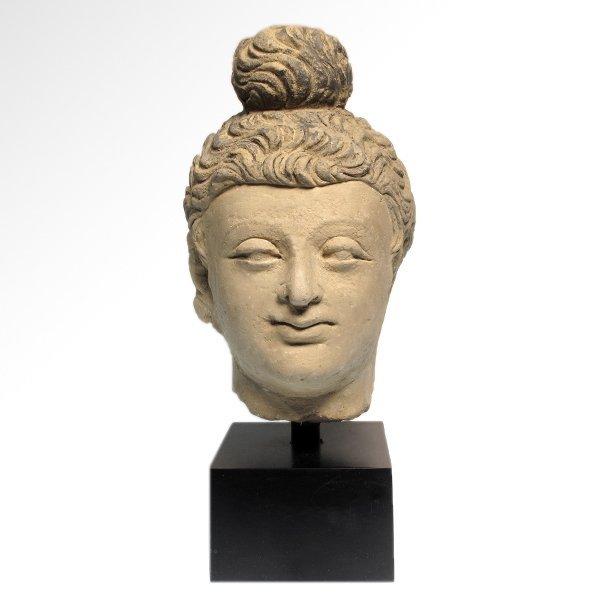 Painted Stucco Buddha Head, Gandhara, c. 2nd - 3rd