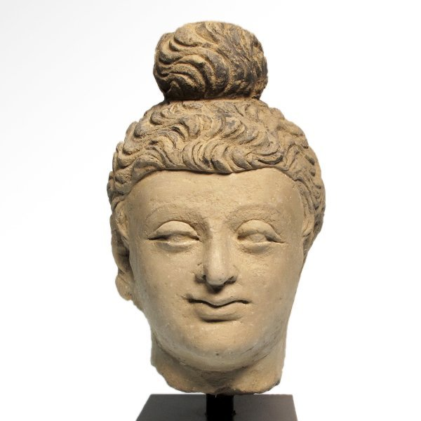 Painted Stucco Buddha Head, Gandhara, c. 2nd - 3rd - 2