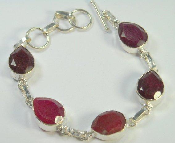"""124: 62.84 ct Natural Ruby Bracelet 7-8.5"""""""