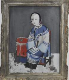 Chinese Export Reverse Painted Portrait On Glass