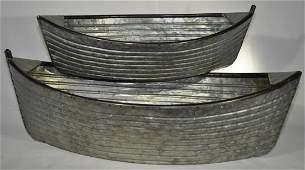 Set Of Galvanized Metal Dory Planters