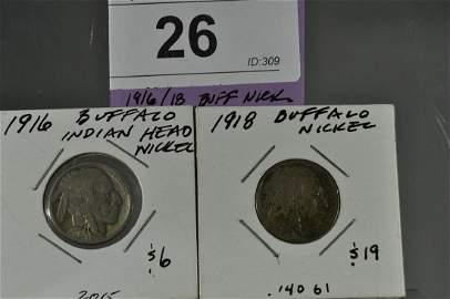 1916/18 (2) Buffalo Nickels