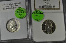 1959/62 (2) Silver Washington Quarters