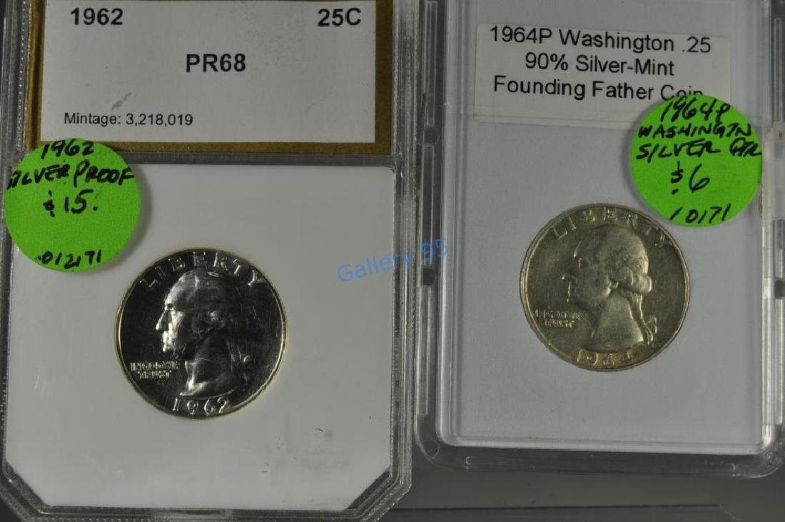 1962/64 (2) Silver Washington Quarters