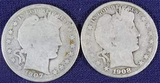 1907 / 1908 Barber Half Dollars