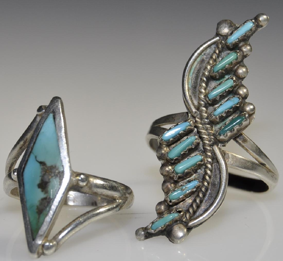 2) American Indian Silver Turquoise Rings