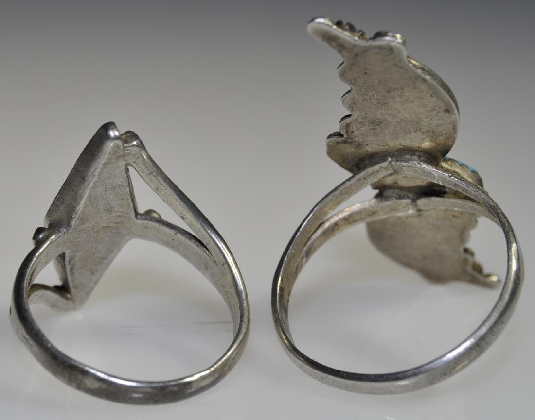 2) American Indian Silver Turquoise Rings - 2