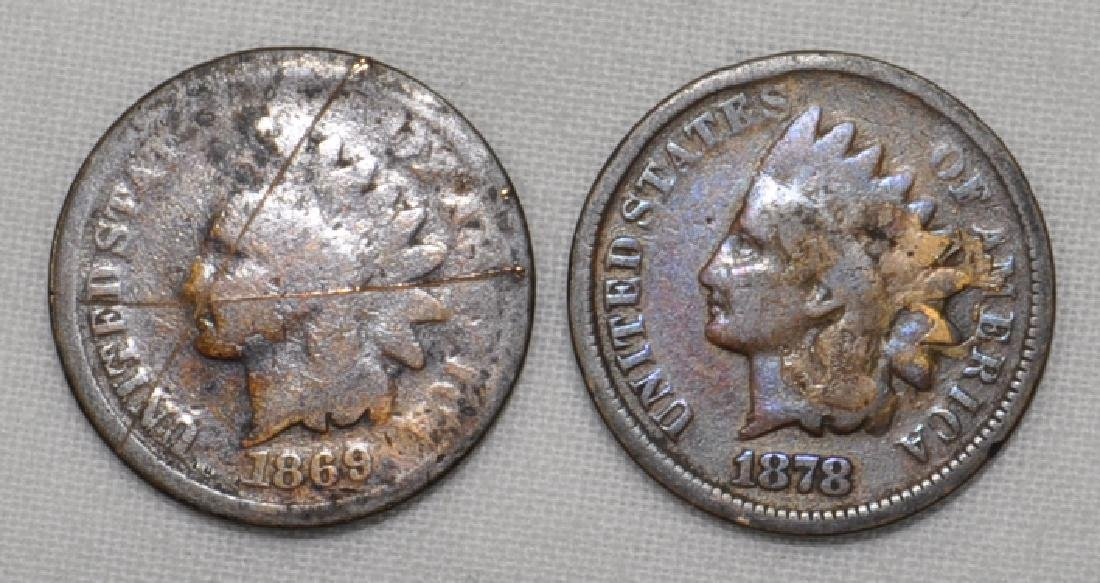 1869 And 1878 Indian Head Cents