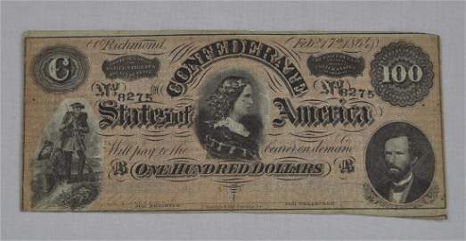 C.S.A. 1864 One Hundred Dollar Note
