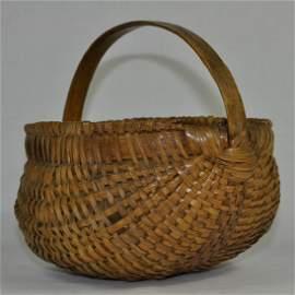 Native American Antique Melon Form Splint Basket