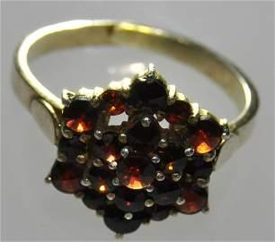 Victorian Bohemian Garnet Gilt Silver Ring