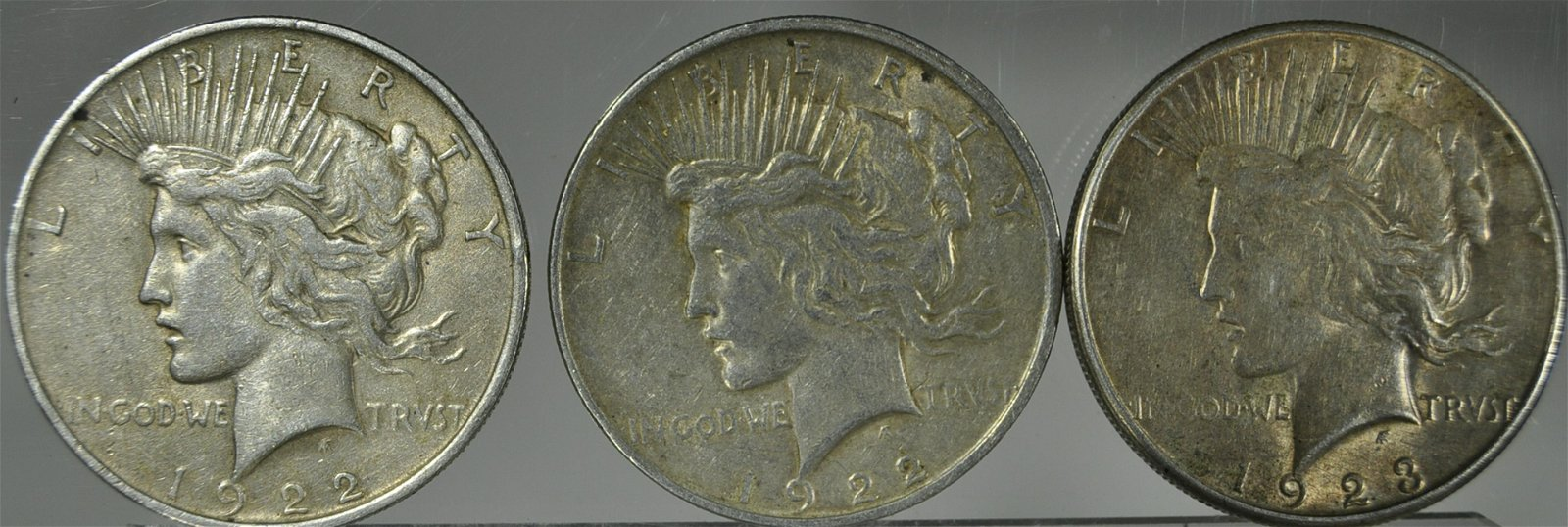 3) Silver Peace Dollars VF Or Better