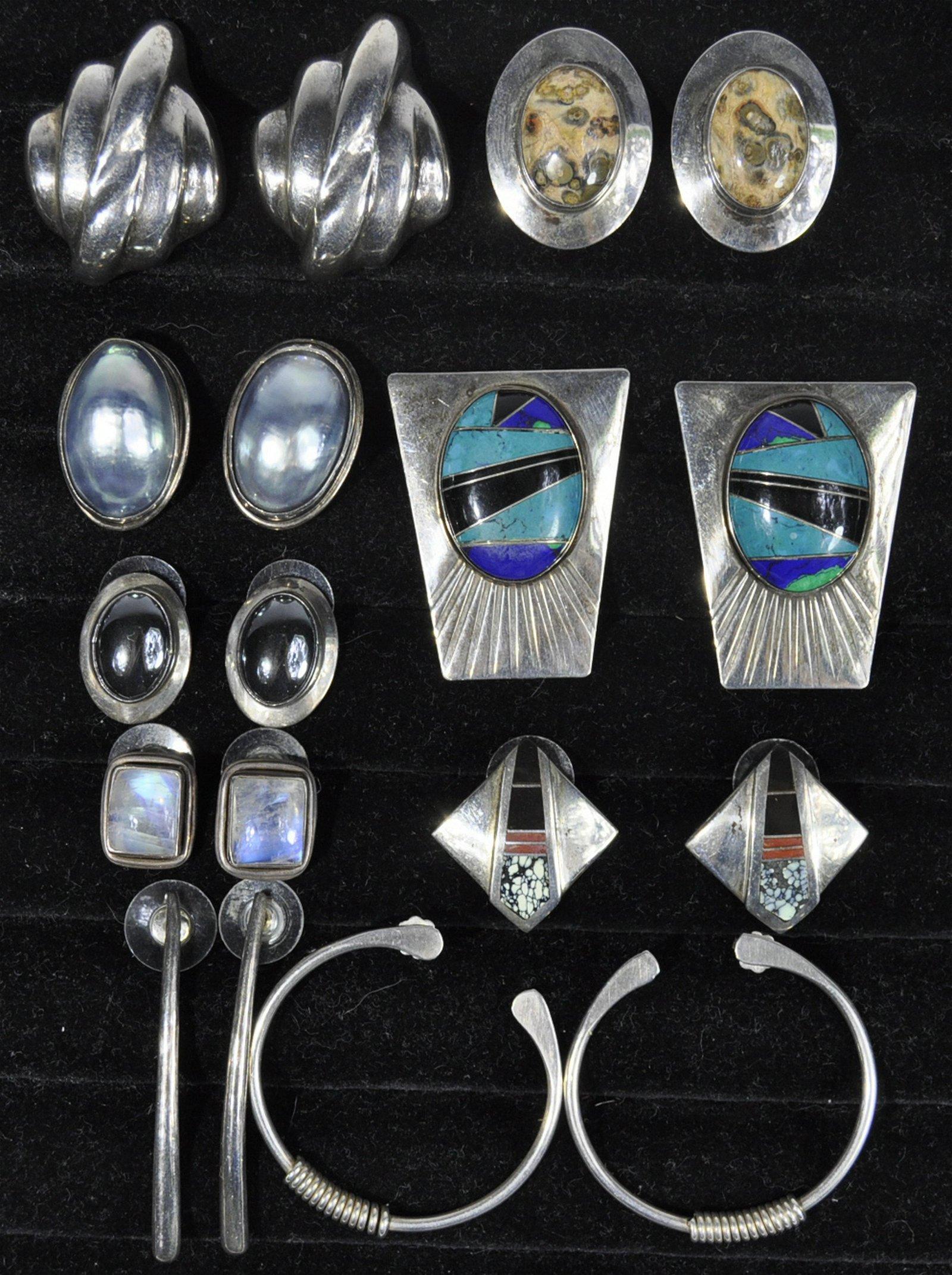Sterling Artisan Made Earrings 9 Pairs