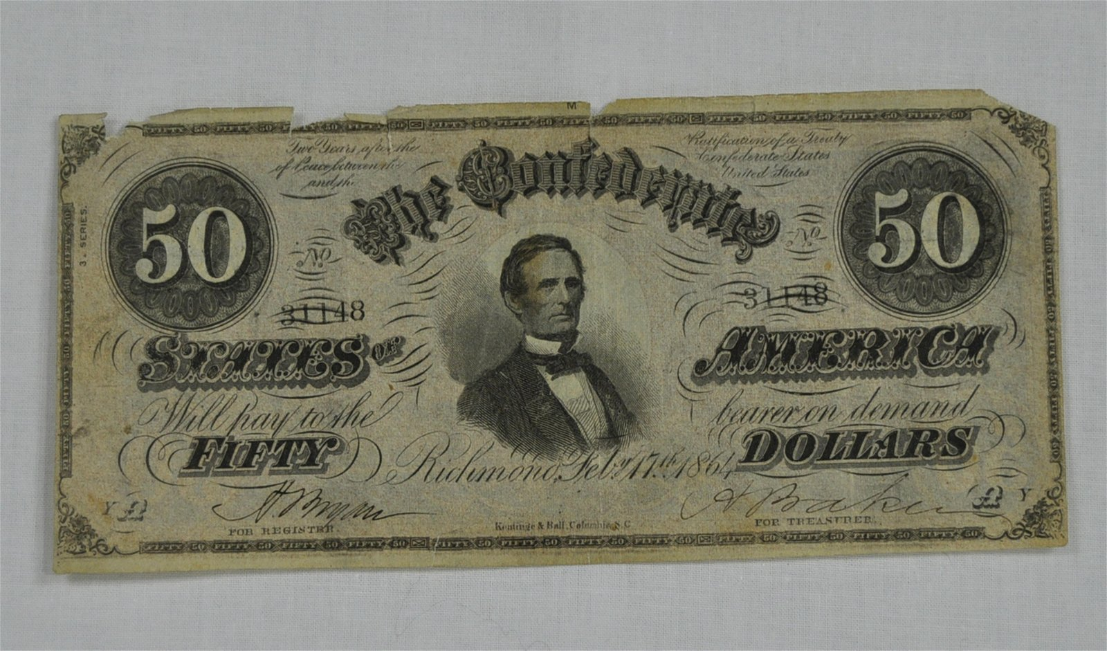 C.S.A. 1864 Fifty Dollar Note