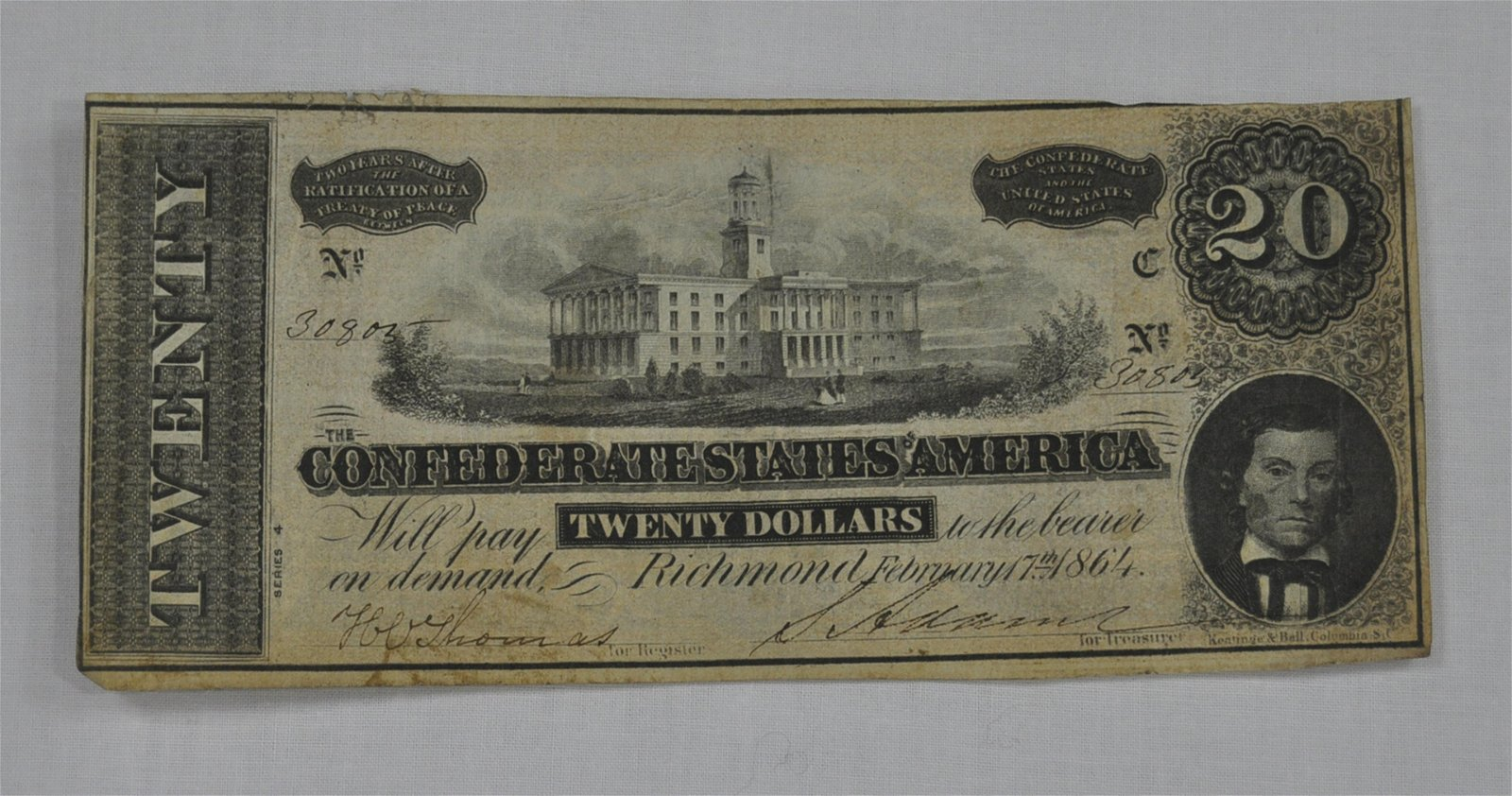 C.S.A. 1864 Twenty Dollar Note