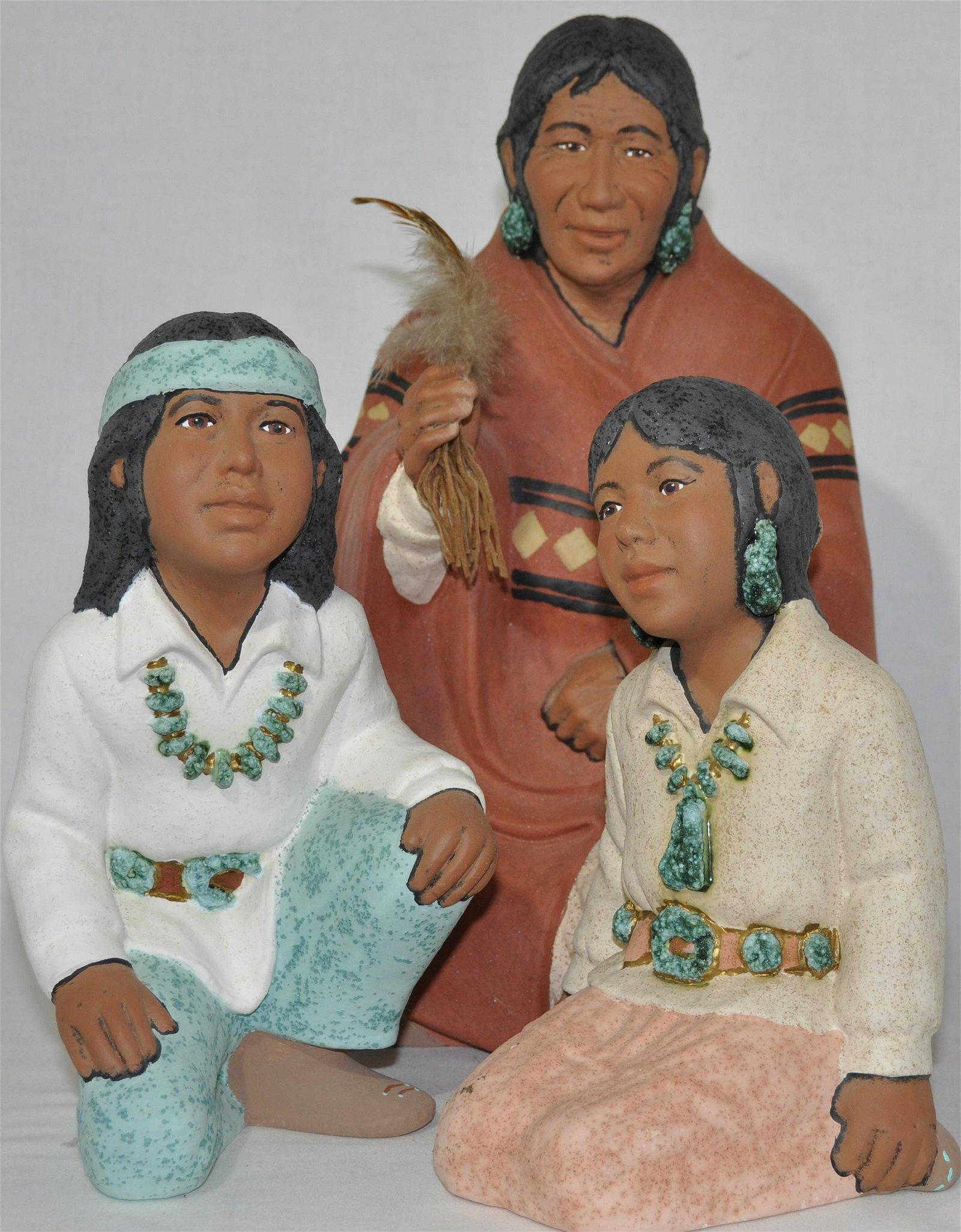 Native American ceramic Figural Group