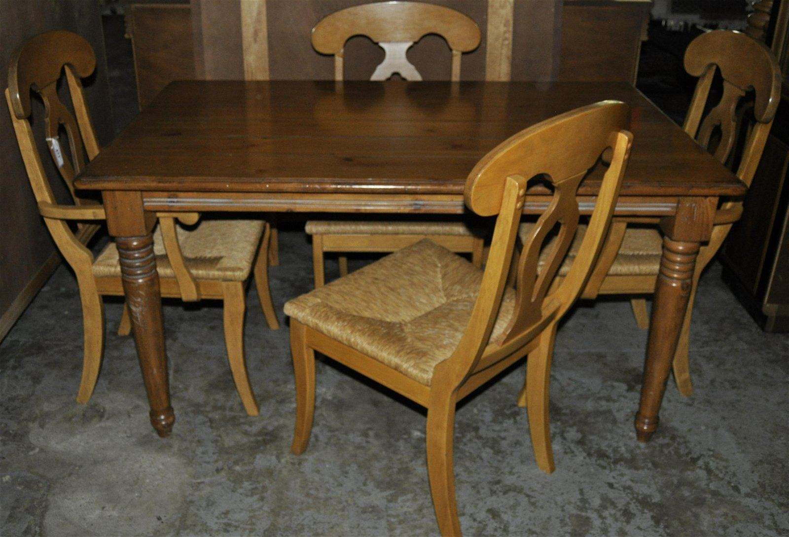 Pine Farm Style Table With 4 Chairs
