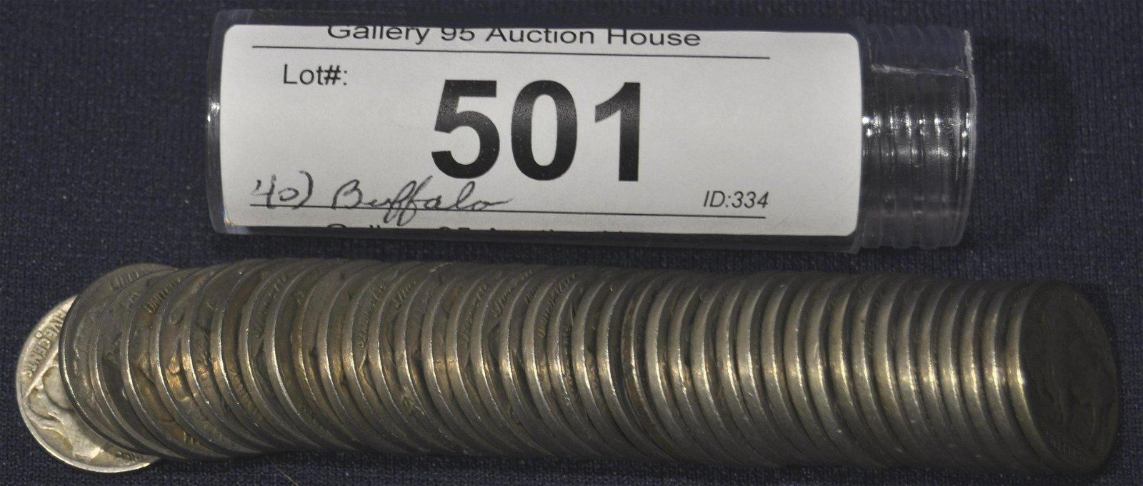 Tube of 40 Mixed Dates Buffalo Nickels