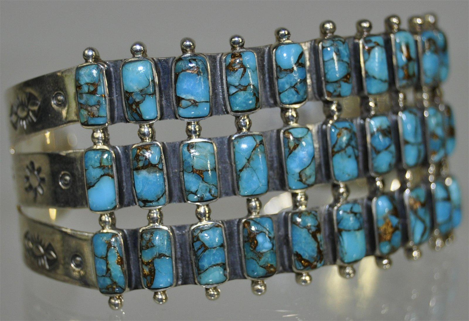 Zuni Square Petit Point Turquoise Silver Cuff