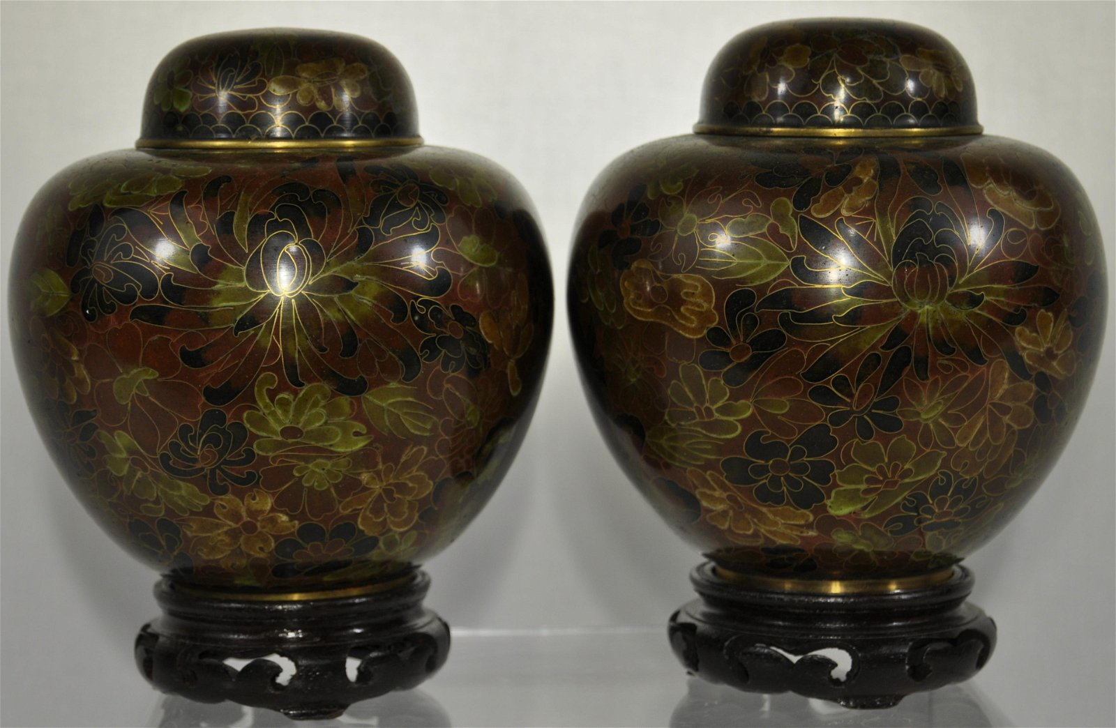 A Pair Of Modern Cloisonne Covered Jars